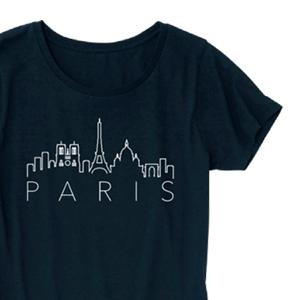 PARISとパリの街のイラストでデザインした、オリジナルTシャツ