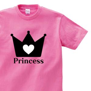 王冠とハートのイラストとPrincessでデザインした、オリジナルTシャツ