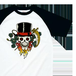 ハットを被ったスカルイラストでデザインした、オリジナルラグランTシャツ