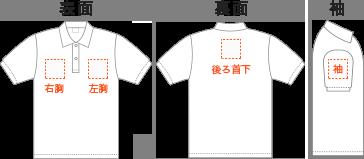 ポロシャツに刺繍可能な位置