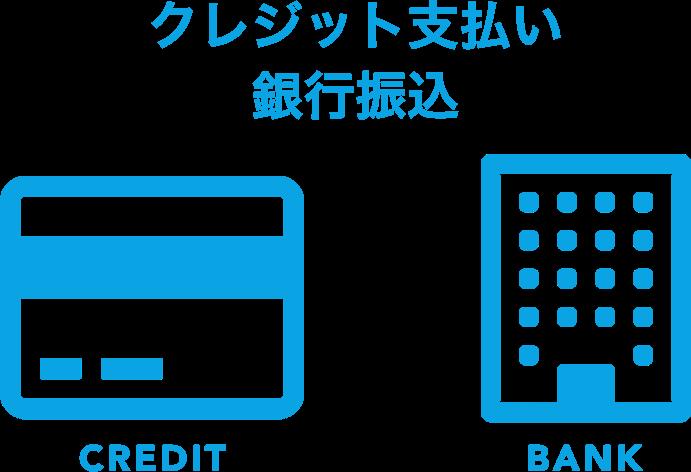 クレジット支払い、銀行振込のみ