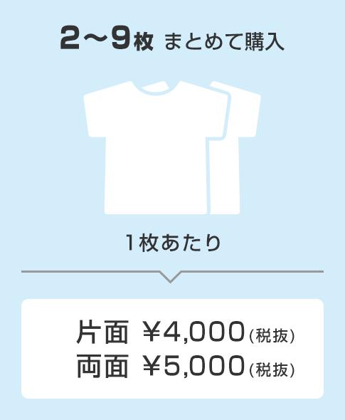 2〜9枚購入で1枚あたり片面4000円、両面5000円(税抜)