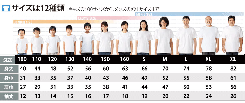 定番Tシャツのサイズ詳細