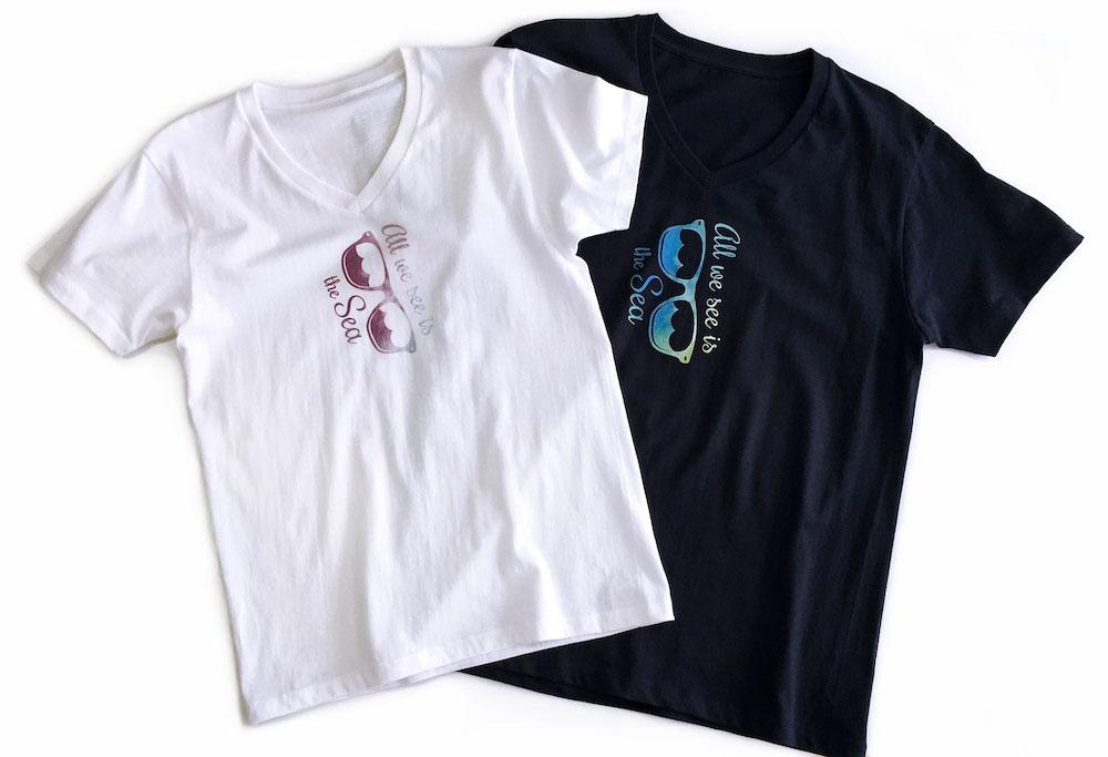VネックTシャツ ホワイト、ネイビー