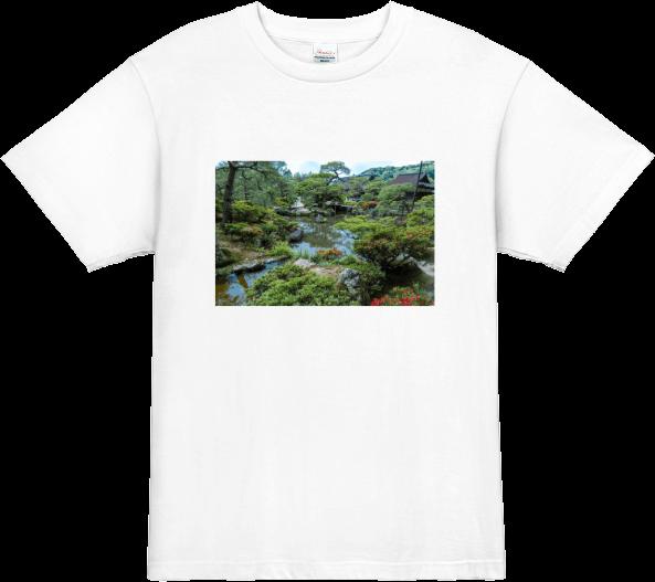 旅行の思い出 銀閣寺の日本庭園をプリントしたTシャツ