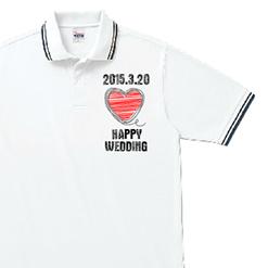 ワンポイントハートポロシャツ |オリジナル結婚祝いのプレゼントTシャツ