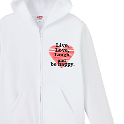 ハート入りパーカー|オリジナル結婚祝いのプレゼントTシャツ
