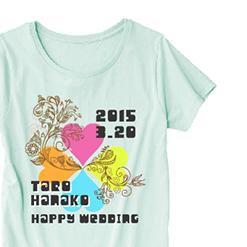 お祝いクローバーTシャツ|オリジナル結婚祝いのプレゼントTシャツ
