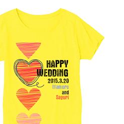 ハッピーイエローTシャツ|オリジナル結婚祝いのプレゼントTシャツ