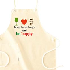 be happyエプロン!Tシャツ|オリジナル結婚祝いのプレゼントTシャツ