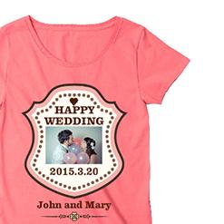 写真入りピンクTシャツ|オリジナル結婚祝いのプレゼントTシャツ