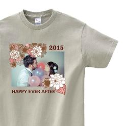 写真入グレーTシャツ|オリジナル結婚祝いのプレゼントTシャツ