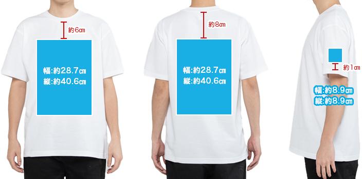 オリジナルTシャツのプリント位置 全体