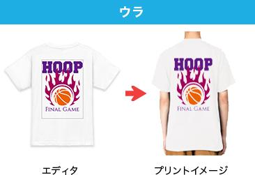オリジナルTシャツのプリント位置 ウラ