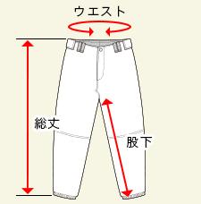 ベースボールパンツのサイズガイド